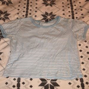 Light Blue and White Striped Cropped Top